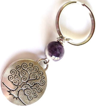 Tree Keychain, Amethyst Keychain, Bag Charm, Recovery Gift, Party Favor, Stocking Stuffer, Unique Keychain, Healing Keychain, Gifts For Her