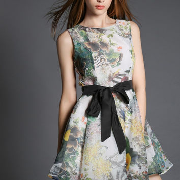 Floral Bow Belted Sleeveless A-Line Mini Skater Dress