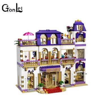 (GonLeI) 10547 Girl Series Heart Lake City Hotel Girl Friends Building Blocks Figures Bricks Toys Compatible with
