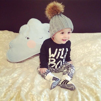Baby boy clothes 2016 autumn long sleeve letters t-shirt + pants kids 2pcs suit baby girl clothing set newborn infant outfitsf