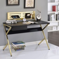 Alluring Writing Desk, Black & Gold By ACME