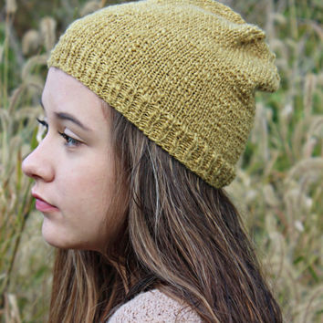 Teen Girl Hat in Mustard Color, Teen Beanie, Knit Beanie, Hand Knit Hat, Christmas Gift, Teen Gift, Winter Hat, Gold Beanie, Wool Hat