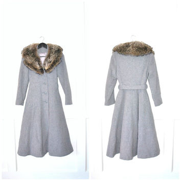 1960s PRINCESS coat / vintage 60s grey wool CINCHED waist FUR collar long petite winter coat small
