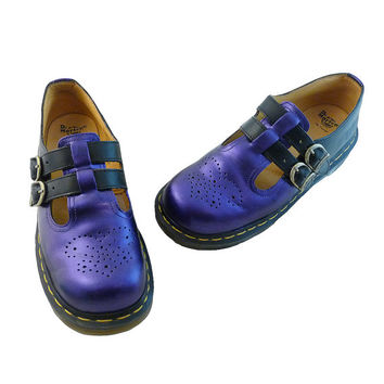 Doc Marten Deep Purple Violet and Black Double Strap Mary Janes Brogues // Size 6 UK,  8 US // Air Wair Hand Painted  // Kawaii Punk Rocker