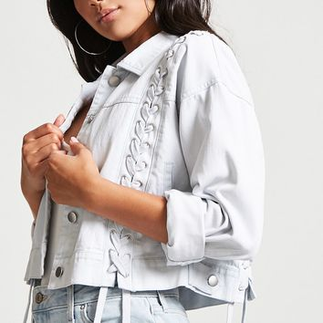 Lace-Up Denim Jacket