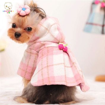 MKO Winter Dog Clothes Luxury Wool Plaid Dog Coat Pet Clothes Pink Warm Dog Jacket Small Medium Autumn Dog Clothing Chihuahua
