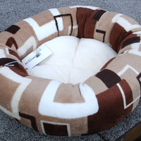 Cat bed or dog bed 18 inch in cream, tan, brown abstract microplush fabric