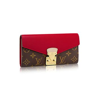 SUPREME&LV Monogram Canvas Pallas Wallet,Women's handbags,Wallets (Red)
