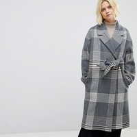 Whistles Check Wrap Oversized Coat at asos.com