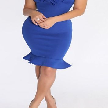 Blue Plain Peplum Boat Neck Off Shoulder Bodycon Homecoming Mini Dress