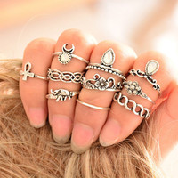 Vintage 10Pcs Boho Ring Set + Gift Box