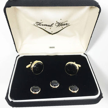 SWANK Men's Jewelry Set, Formal Black Cuff Links and Stud Set, Vintage 1950s 1960s Tuxedo Accessories, Prom or Groom's Wedding Attire