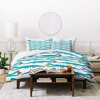 Andi Bird Alligator Love Aqua Duvet Cover
