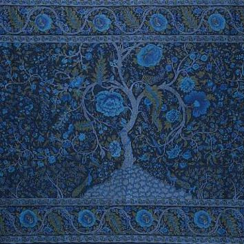 Handmade 100% Cotton Tree of Life Tapestry Tablecloth Bedspread Beach Sheet Dorm Decor Twin 70x104 Blue
