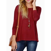 Wine Red Batwing Long Sleeve T-shirt