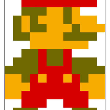 Instant Download, Super Mario Bros, 8 Bit Mario, Cross Stitch Pattern, Gaming Fan Art