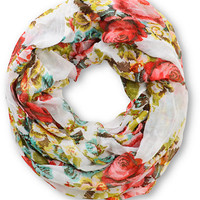 D&Y White Digi Floral Infinity Scarf