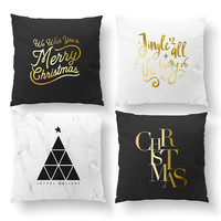 SET of 4 Pillows, Merry Christmas, Jingle All The Way, Gold Pillow, Cushion Cover, Bed Pillow, Christmas Pillow, Xmas Pillow, Throw Pillow