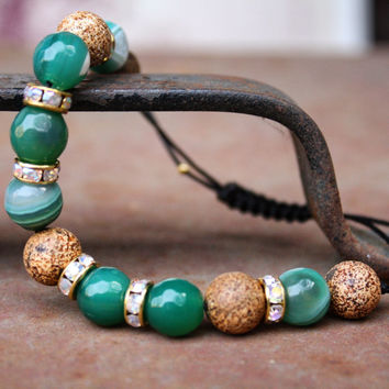 Natural Stone Wooden Texture Agate & Green Stripe Agate Bead Bracelet