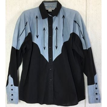 Adobe Rose Vintage Embroidered Western Shirt Arrow Chambray Colorblock Cowgirl L