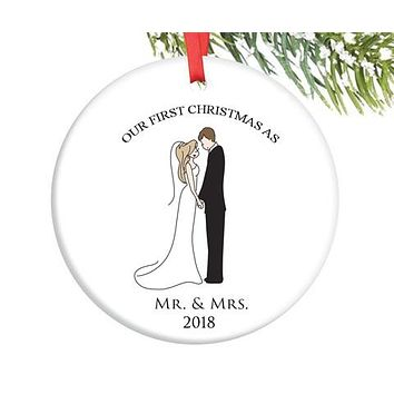 Semi Custom First Married Christmas Ornament