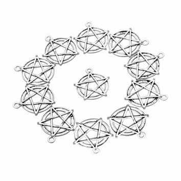 20 Pieces Magical Star Pentacle Protection Charm Findings Jewelry Pendant Necklace Making 30 X 28mm