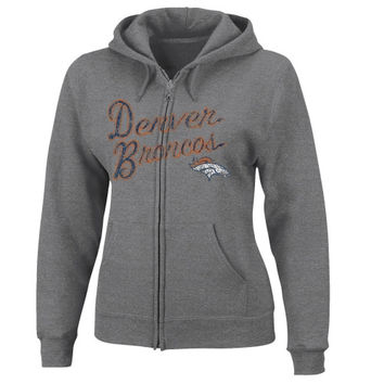 Denver Broncos Women's Football Classic Full Zip Hoodie - Ash
