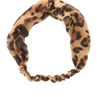 Leopard Print Chiffon Twisted Head Wrap