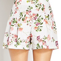 Floral Satin Pleated Shorts