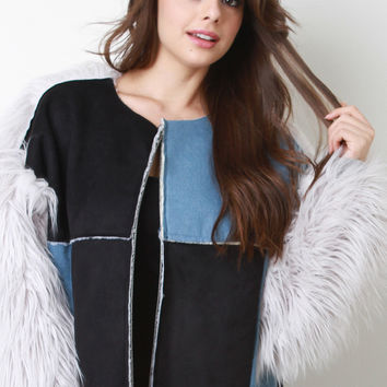 Suede And Denim Panel Fur Sleeves Coat