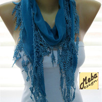 Blue scarf ,women scarves -  fashion scarf - gift Ideas For Her Women's Scarves-christmas gift- for her -Fashion accessories-scarves