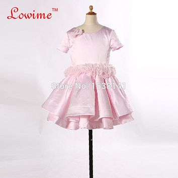 Sexy Children Images Backless Baby Pink Flower Girl Dresses Tired Ball Gowns Ruffles Sash Communion Girls Dress