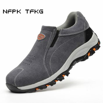 big size women casual steel toe cap working safety shoes cow suede leather slip on anti-puncture tooling security boots zapatos