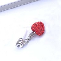 Heart Shape Rhinestone (JP-250-Red) Dust Plug / Earphone Jack Accessory / Ear Cap / Ear Jack for Ip