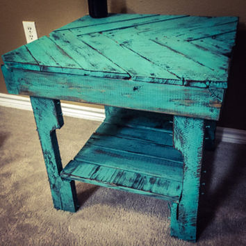Rustic End Table   Distressed Turquoise Finish (Price Drop)