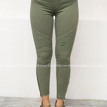 Pleated Zipper Skinny Jeggings | Olive