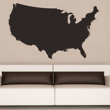 United States of America USA Map Vinyl Wall Decal #6027