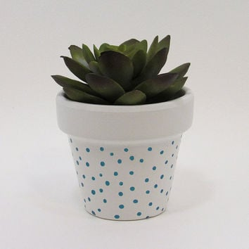 Terracotta Pot, Succulent Planter, Cute Planter, Small Pot, White Planter, Air Plant Holder, Indoor Planter, Polka Dot Planter, Blue
