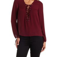 Wine Lace-Up Long Sleeve Chiffon Top by Charlotte Russe