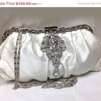 Bridal clutch, wedding clutch, Crystal clutch, vintage inspired evening bag,Ivory clutch, bridal bag, bridesmaid bag, bridesmaid clutch