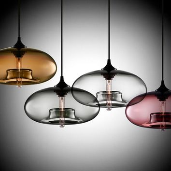 New Simple Modern Contemporary hanging 6 Color Glass ball Pendant Lamp Lights Fixtures e27 for Kitchen Restaurant Cafe Bar
