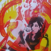 Pop art painting on canvas,stencil art,spray paint,60s,Amy Winehouse,music,soul,abstract,yellow,red,white,black,printing,design,wall art,pop
