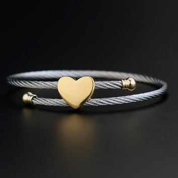 Brand Designer 2 Colors Stainless Steel Bracelets For Women Heart Shape Love Bangle Bracelet Screw Bracelet Manchette Femme