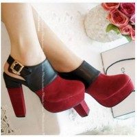 Discount China  Contrast Color Belt Buckle Thick Sole Ankle Boot GQCH-235R [GQCH-235] - US$14.51 : Fashion Ladies Shoes&Bags Wholesale Online at Egogog.com