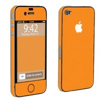 Apple iPhone 4 or 4s Full Body Vinyl Protection Decal Skin Hot Orange
