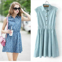 Denim Floral Print Sleeveless Button-Up Dress