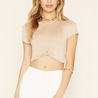 Faux Suede Crop Top