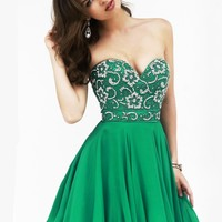 Sherri Hill 8548 - Emerald Strapless Beaded Homecoming Dresses Online