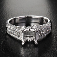 Diamond Engagement Semi Mount Ring 14K White Gold Setting Princess 6mm