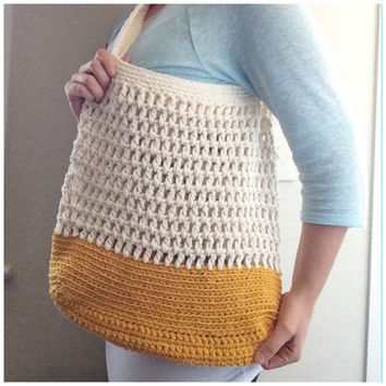 Summer Tote Bag Crochet Market Bag Beach Bag Messenger Bag Color Block Womens Accessories Cotton Summer Spring Fashion Cream Mustard